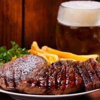 steak and a jug of beer