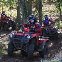 A stag group driving quad bikes through the forrest