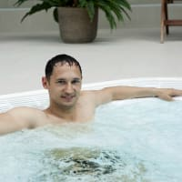 Man in Hot Tub