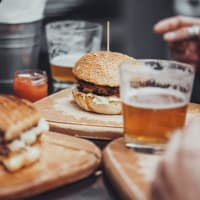 burger and a pint of beer