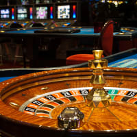 Casino interior roulette and slot machines