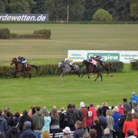 Hoppegarten Racecourse course view and horse race