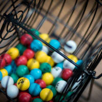 Bingo Balls and Table Stand