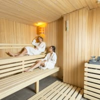 Two woman in the sauna