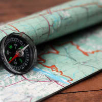 Map and compass for orienteering activity