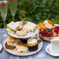 afternoon tea with cakes and champagne