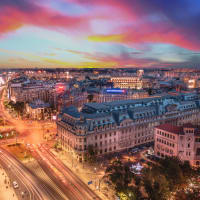 An image of Bucharest city at nigh