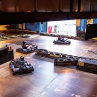 a group go kart racing
