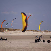 kite bugging on a beach