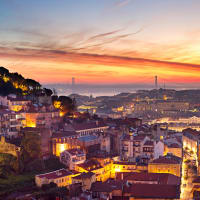 Lisbon skyline by night