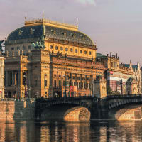 Beautiful Prague National Theatre Along The River Vltava