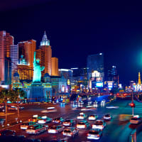 An image of the Las vegas strip at night