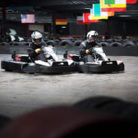karting track with karts racing
