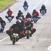 A stag group riding mini motos