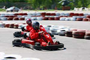 Group racing on a go kart track