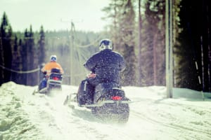 A stag group on a snowmobiling trip
