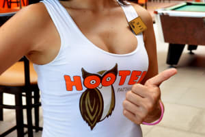 A waitress at Hooters restaurant