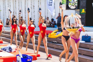 pool girls champagne pool party