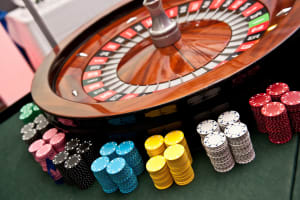 Casino table roulette wheel