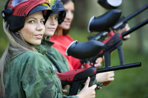 A group of women paintballing