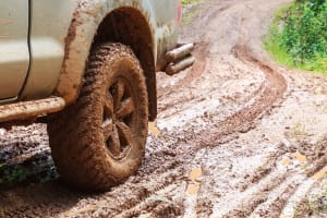 Muddy 4x4 vehicle