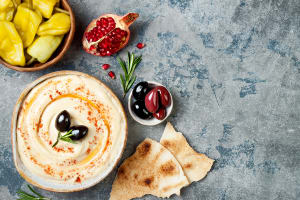 Middle Eastern traditional and authentic arab cuisine. Meze party food.