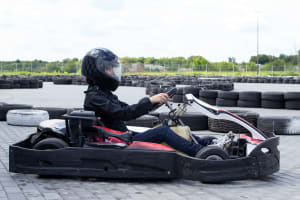woman doing outdoor go karting