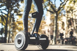 A woman on a segway