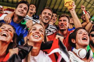 friends at football match