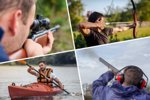 Multi activity day Air Rifle Shooting Clay Pigeon Shooting - 30 Clays High Ropes Quad Biking Kayakin