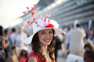 Woman smiling at Bath racecourse