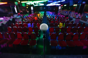 A stage and microphone at a comedy club