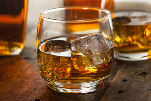 A glass of whisky for tasting