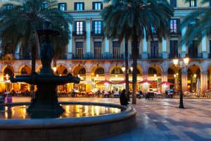 Placa Reial Fountain Barcelona