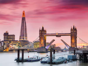 Tower bridge in London with pink sky