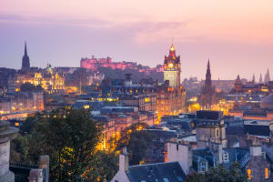 Edinburgh city scape at dusk