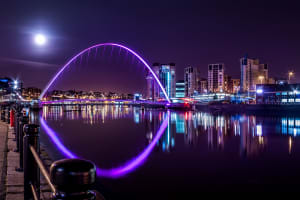 Millennium Bridge under Night Sky, Newcastle upon Tyne, UK