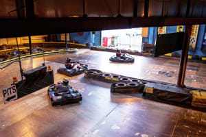 a group go kart racing