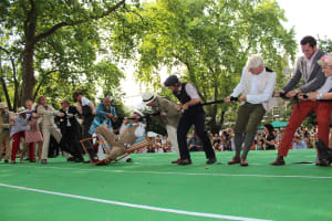 quintessentially English tea party tug of war