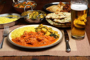 indian meal and a pint of beer