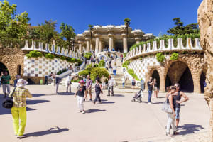 Entrance At The Parc Guell Designed By Antoni Gaud In Barcelona