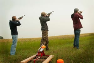 group of guys clay pigeon shooting