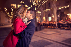 Marriage proposal couple kissing