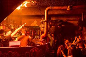 Steampunk Prague inside bar with flames