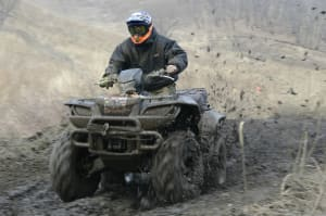 Quad biker racing through field