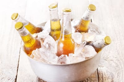 A bucket of ice cold beers