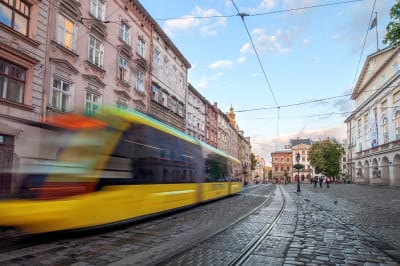 Manchester city centre with tram
