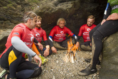 A group of guys learning Coasteering + Survival Skills