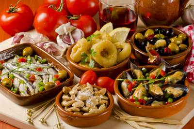 A selection of tapas food