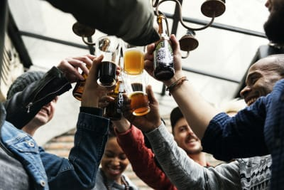 A group drinking beers